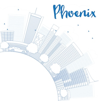Наброски феникс skyline с голубыми зданиями и копией пространства.