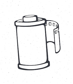 Outline of photo film in cartridge vector illustration photographic roll film hand drawn sketch