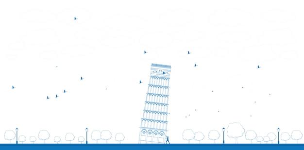 Контур пизанской башни в синем цвете