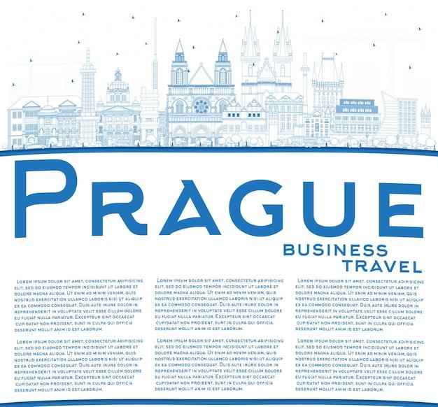 青い建物とコピースペースでプラハチェコ共和国の街のスカイラインの概要を説明します。ベクトルイラスト。歴史的な建築とビジネス旅行と観光の概念。ランドマークのあるプラハの街並み。
