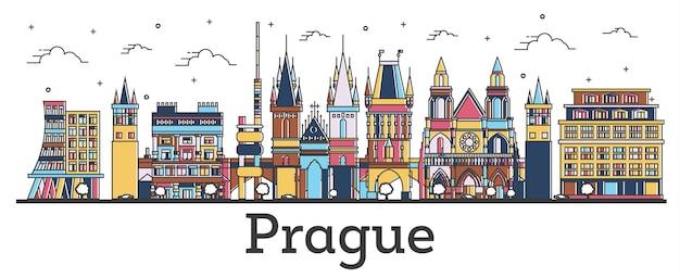 白で隔離の色の建物とプラハチェコ共和国の街のスカイラインの概要を説明します。ベクトルイラスト。ランドマークのあるプラハの街並み。