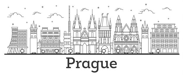 白で隔離された歴史的建造物とプラハチェコ共和国の街のスカイラインの概要を説明します。ベクトルイラスト。ランドマークのあるプラハの街並み。