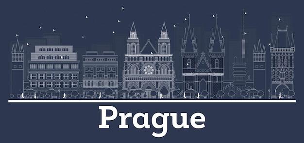 白い建物でプラハチェコ共和国の街のスカイラインの概要を説明します。ベクトルイラスト。近代建築との出張とコンセプト。ランドマークのあるプラハの街並み。