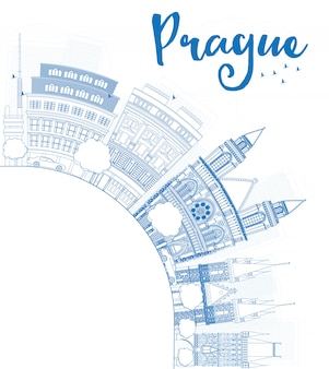Outline prague skyline with blue landmarks and copy space.