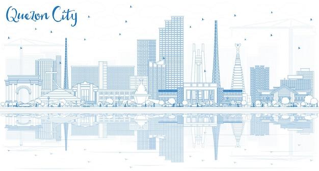青い建物と反射のベクトル図とケソンシティフィリピンのスカイラインの概要