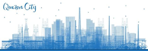 青い建物でケソンシティフィリピンのスカイラインの概要を説明します。ベクトルイラスト。近代建築と出張と観光のイラスト。ランドマークのあるケソンシティの街並み。