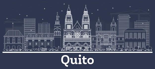 Наброски на фоне линии горизонта города кито, эквадор, с белыми зданиями. векторные иллюстрации. деловые поездки и концепция с исторической архитектурой. город кито с достопримечательностями.