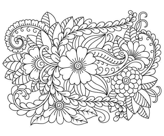 本ページを着色するための一時的な刺青スタイルの長方形の花柄のパターンを概説します。黒と白の飾りを落書き。手描きイラスト。