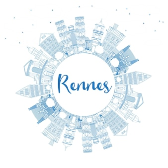 Outline rennes france city skyline with blue buildings and copy space. vector illustration. business travel and tourism concept with historic architecture. rennes cityscape with landmarks.