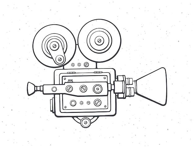 Outline retro cinema projector vintage film camera old fashioned movie camera vector illustration