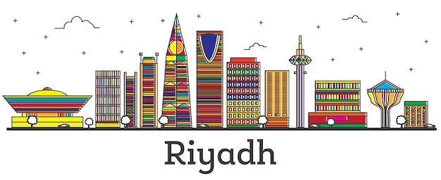 白で隔離される色の建物とリヤドサウジアラビアの街のスカイラインの概要を説明します。ベクトルイラスト。ランドマークのあるリヤドの街並み。