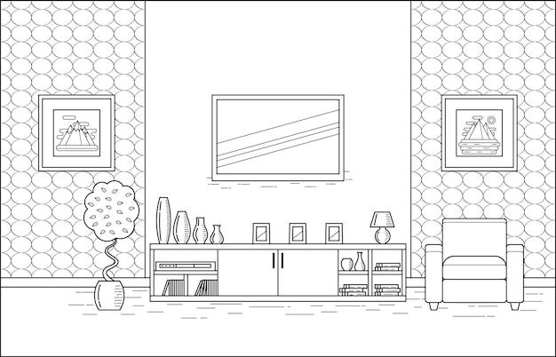 Обрисовать интерьер комнаты. линейные векторные иллюстрации. гостиная в плоском дизайне. штриховая графика.