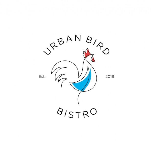 Outline rooster logo design premium