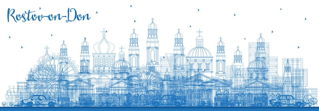 Outline rostov-on-don russia city skyline with blue buildings