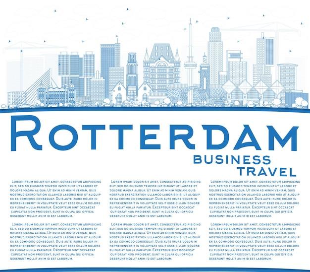 파란색 건물 및 복사 공간이 있는 로테르담 네덜란드 도시 스카이라인 개요. 벡터 일러스트 레이 션. 현대 건축과 비즈니스 여행 및 관광 개념입니다. 랜드마크가 있는 로테르담 도시 풍경.