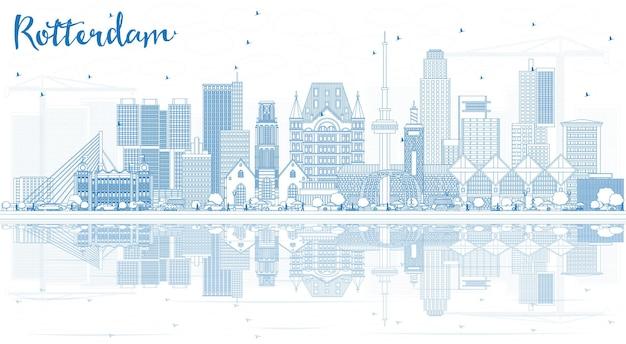 파란색 건물과 반사가 있는 로테르담 스카이라인 도시 개요. 벡터 일러스트 레이 션. 현대 건축과 비즈니스 여행 및 관광 개념입니다. 랜드마크가 있는 로테르담 네덜란드 풍경입니다.