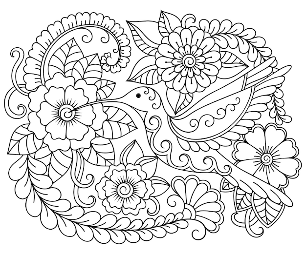 丸い花と鳥のコリブリのイラストの概要を説明します。黒と白の落書き飾り。手描きぬりえイラスト。