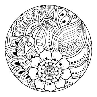 本のページを着色するための丸い花柄の輪郭