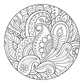 本のページを着色するための丸い花柄の輪郭を描きます。