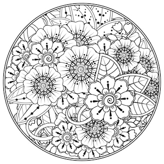 黒と白の手描きのイラストで本のページの落書き飾りを着色するための一時的な刺青スタイルの丸い花のパターンの概要