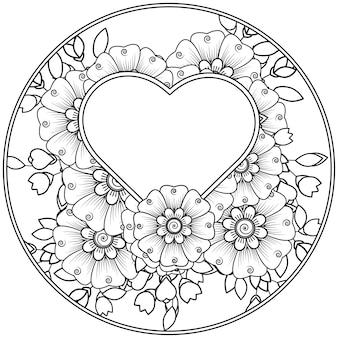 黒と白の手描きのイラストで本ページ落書き飾りを着色する一時的な刺青スタイルの丸い花模様の概要