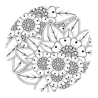 책 페이지 낙서 장식을 색칠하기위한 멘디 스타일의 둥근 꽃 패턴 개요