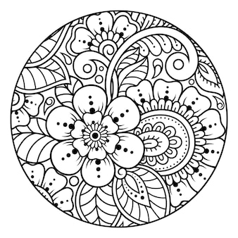 Outline round flower pattern in mehndi style for coloring book page. antistress for adults and children. doodle ornament in black and white. hand draw vector illustration.