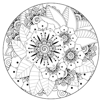 Outline round flower pattern in mehndi style for coloring book page doodle ornament in black and white hand draw illustration