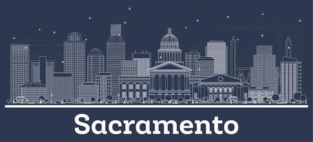 Очертите горизонт города сакраменто, калифорния, с белыми зданиями. векторные иллюстрации. деловые поездки и концепция с современной архитектурой. городской пейзаж сакраменто сша с достопримечательностями.