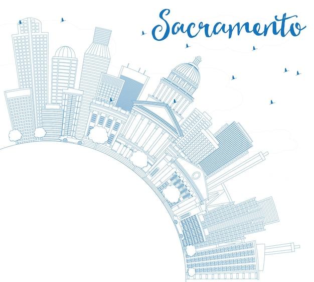 파란색 건물 및 복사 공간이 있는 새크라멘토 스카이라인 개요. 벡터 일러스트 레이 션. 현대 건축과 비즈니스 여행 및 관광 개념입니다. 프레젠테이션 배너 현수막 및 웹사이트용 이미지.