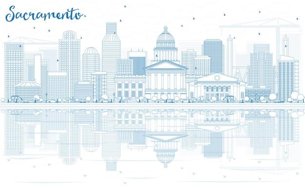 파란색 건물과 반사가 있는 새크라멘토 스카이라인 개요. 벡터 일러스트 레이 션. 현대 건축과 비즈니스 여행 및 관광 개념입니다. 프레젠테이션 배너 현수막 및 웹사이트용 이미지.