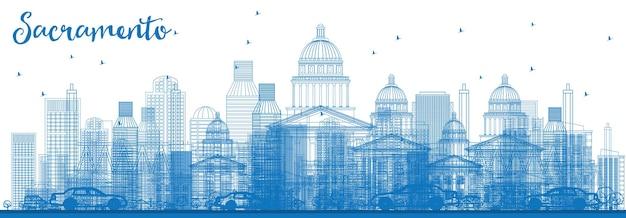 파란색 건물이 있는 새크라멘토 스카이라인 개요. 벡터 일러스트 레이 션. 현대 건축과 비즈니스 여행 및 관광 개념입니다. 프레젠테이션 배너 현수막 및 웹사이트용 이미지.