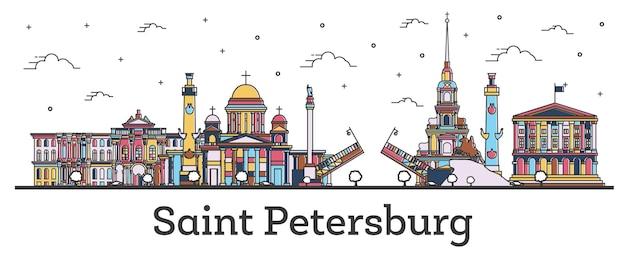 白で隔離される色の建物とサンクトペテルブルクロシアの街のスカイラインの概要を説明します。ベクトルイラスト。ランドマークのあるサンクトペテルブルクの街並み。