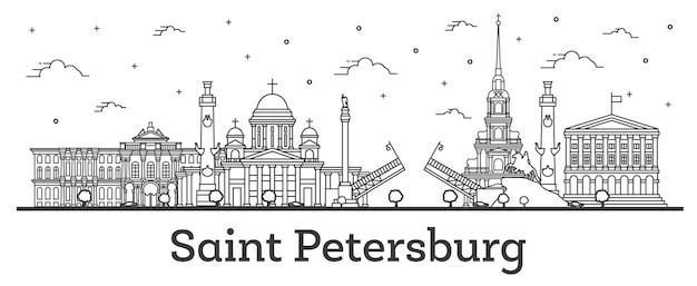 白で隔離された歴史的建造物とサンクトペテルブルクロシアの街のスカイラインの概要を説明します。ベクトルイラスト。ランドマークのあるサンクトペテルブルクの街並み。