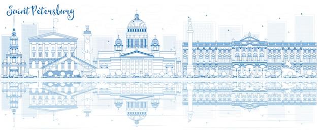 Контур санкт-петербурга с голубыми зданиями и отражениями.