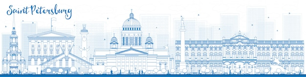 Outline saint petersburg skyline with blue landmarks
