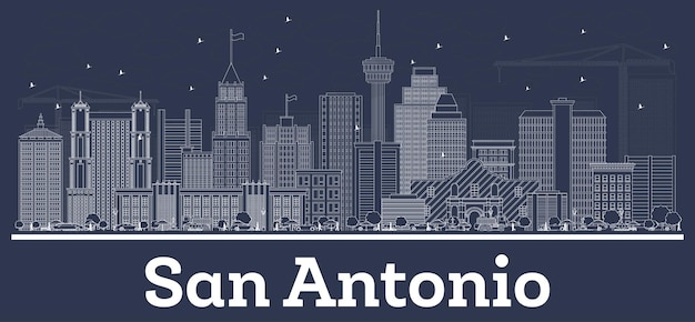Outline san antonio texas city skyline with white buildings. vector illustration. business travel and concept with historic architecture. san antonio cityscape with landmarks.