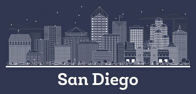 Очертите горизонт города сан-диего, калифорния, с белыми зданиями. векторные иллюстрации. деловые поездки и концепция с исторической архитектурой. городской пейзаж сан-диего с достопримечательностями.