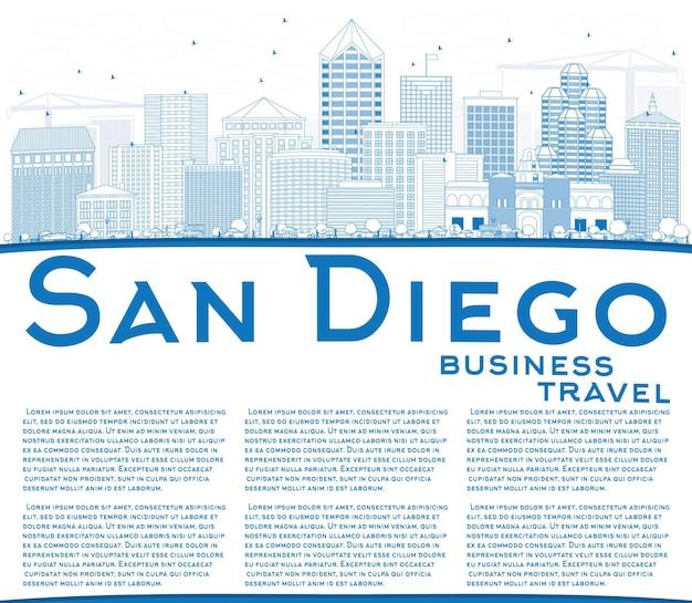 青い建物とコピースペースでサンディエゴのスカイラインの輪郭を描きます。ベクトルイラスト。近代建築とビジネス旅行と観光の概念。プレゼンテーションバナープラカードとwebサイトの画像。
