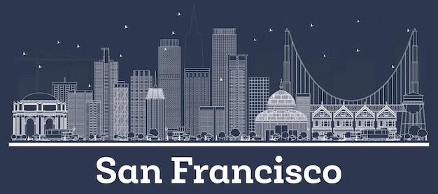 흰색 건물이 있는 샌프란시스코 캘리포니아 도시 스카이라인 개요. 삽화
