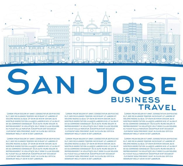 Очертите горизонт сан-хосе с синими зданиями и копией пространства. векторные иллюстрации. деловые поездки и концепция туризма с современной архитектурой. изображение для презентационного баннера и веб-сайта.