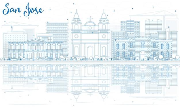 Очертите горизонт сан-хосе с синими зданиями и отражениями. векторные иллюстрации. деловые поездки и концепция туризма с современной архитектурой. изображение для презентационного баннера и веб-сайта.