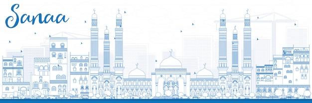 Outline sanaa (yemen) skyline with blue buildings.