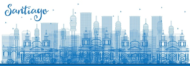 Outline santiago chile skyline with blue buildings. vector illustration. business travel and tourism concept with modern buildings. image for presentation banner placard and web site.