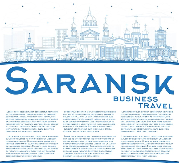 파란색 건물 및 복사 공간 개요 사란 스크 러시아 도시의 스카이 라인. 현대 건축과 비즈니스 여행 및 관광 개념. 랜드 마크와 사란 스크 풍경입니다.