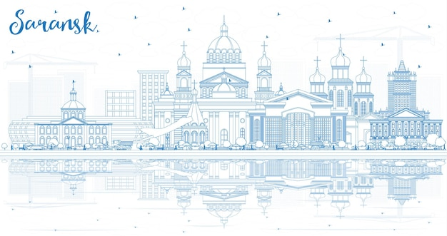青い建物と反射でサランスクロシアの街のスカイラインの概要を説明します。ベクトルイラスト。近代建築とビジネス旅行と観光の概念。ランドマークのあるサランスクの街並み。