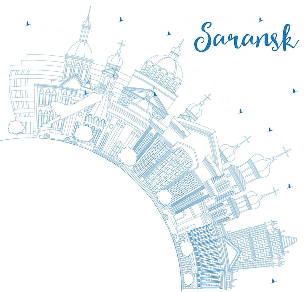 Outline saransk russia city skyline with blue buildings and copy space. vector illustration. business travel and tourism concept with modern architecture. saransk cityscape with landmarks.