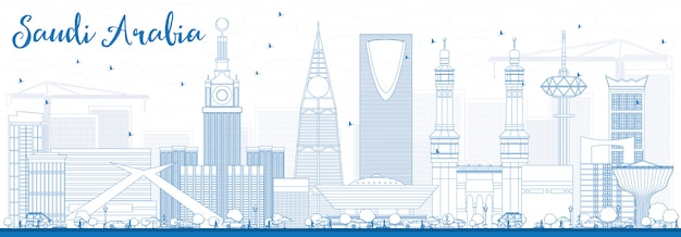 Outline saudi arabia skyline with blue landmarks.