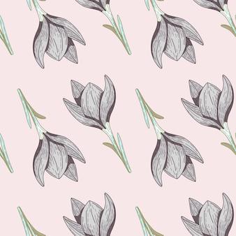 かわいい花のシルエットの飾りでシームレスなパターンの輪郭を描きます。