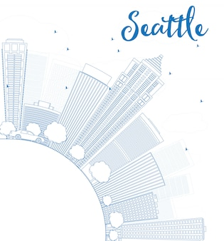 Outline seattle city skyline with blue buildings and copy space